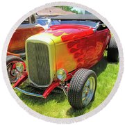 Flamed Red 1932 Ford Roadster Round Beach Towel