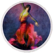Flamenco Dancer Interior Art Painting Round Beach Towel