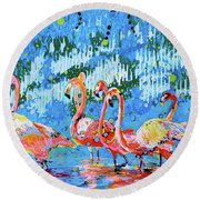 Flamingo Pat Party Round Beach Towel