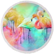 Flamingo Rainbow Round Beach Towel