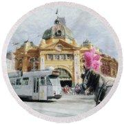 Flinders Street Station, Melbourne Round Beach Towel