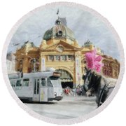 Round Beach Towel featuring the painting Flinders Street Station, Melbourne by Chris Armytage