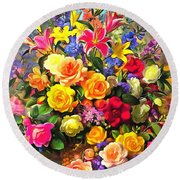 Floral Bouquet In Acrylic Round Beach Towel