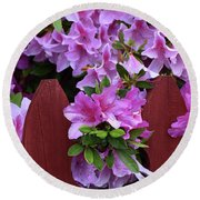 Floral Fencing  Round Beach Towel