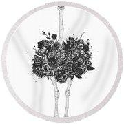 Floral Ostrich Round Beach Towel