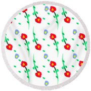 Round Beach Towel featuring the painting Floral Pattern by Bee-Bee Deigner