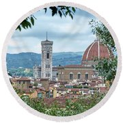 Florence And The Cathedral From The Boboli Gardens Round Beach Towel