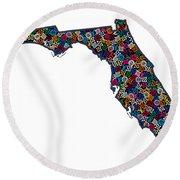 Florida Map - 1 Round Beach Towel