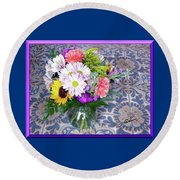 Flower Bouquet  Round Beach Towel