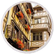 Flower Boxes Strasbourg Round Beach Towel