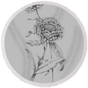 Flower Drawing 3 Round Beach Towel