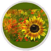Flower Explosion Round Beach Towel