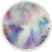 Flower Of Life Round Beach Towel