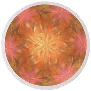Round Beach Towel featuring the digital art Flower Power by Angie Tirado