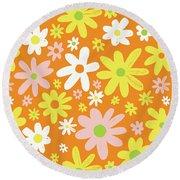 Flower Power Pattern Round Beach Towel