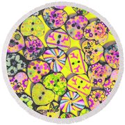 Flower Power Patterns Round Beach Towel