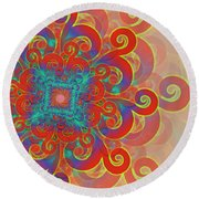 Round Beach Towel featuring the digital art Flower by Vitaly Mishurovsky