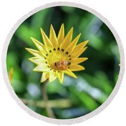 Yellow Flowers And A Bee Round Beach Towel
