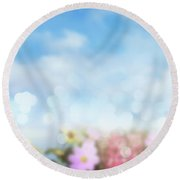 Flowers And Sky Spring Feeling Round Beach Towel