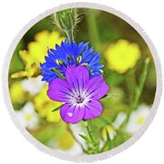 Flowers In The Meadow. Round Beach Towel