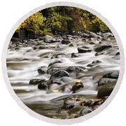 Round Beach Towel featuring the photograph Flowing Molalla by Brian Eberly
