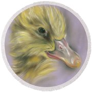 Fluffy Duckling Portrait Round Beach Towel