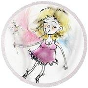 Fluffy Pink Fairy Round Beach Towel