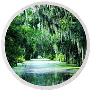 Flush With Green Round Beach Towel
