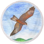 Flying Hawk Round Beach Towel