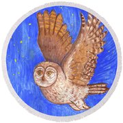 Flying Owl Round Beach Towel