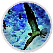 Round Beach Towel featuring the painting Flying Seagulls by Joan Reese