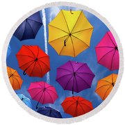 Flying Umbrellas I Round Beach Towel
