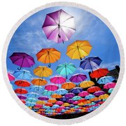 Flying Umbrellas II Round Beach Towel