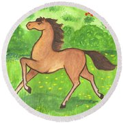Foal In The Meadow Round Beach Towel