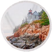 Foggy Bass Harbor Lighthouse Round Beach Towel