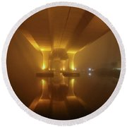 Round Beach Towel featuring the photograph Foggy Bridge Glow by Tom Claud