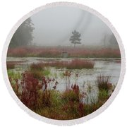 Foggy Morning At Cloverdale Farm Round Beach Towel