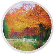 Foliage By The Farm Round Beach Towel