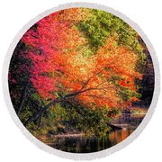 Foliage Over Forge Pond Round Beach Towel