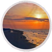Folly Beach Sunrise Round Beach Towel