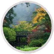 Footbridge In Japanese Garden Round Beach Towel