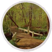 Footbridge Through The Woods Round Beach Towel