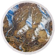 Round Beach Towel featuring the photograph Foothill Settlements by SR Green