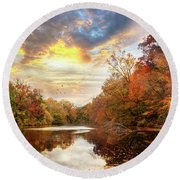 For The Love Of Autumn Round Beach Towel
