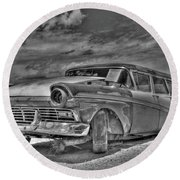 Ford Country Squire Wagon - Bw Round Beach Towel