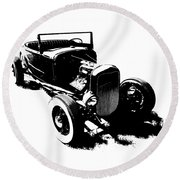 Ford Flathead Roadster Two Blk Round Beach Towel