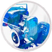 Ford Flathead Roadster Two Blue Pop Round Beach Towel