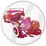 Ford Flathead Roadster Two Pop Round Beach Towel