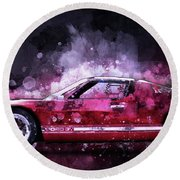 Ford Gt 40 Night Moves Round Beach Towel