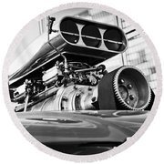 Ford Mustang Vintage Motor Engine Round Beach Towel